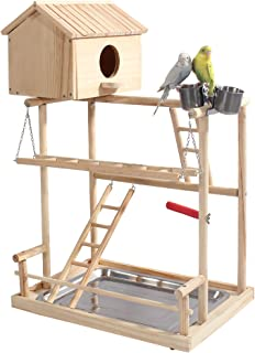 ROCKEVER Parrot Play Stand Bird Playground Cockatiel Gym with Nesting Box and Cups