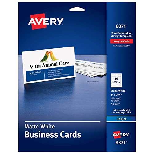 Avery Printable Business Cards, Inkjet Printers, 250 Cards, 2 x 3.5 (8371), White