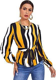 Shein Women's Striped Print Bishop Sleeve Tie Front Blouse Top
