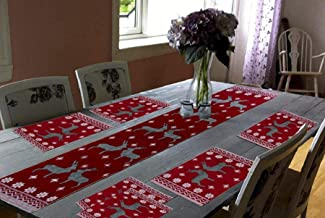 Galaxy Home Decor Cotton Dining Table with 6 Jacquard Mats with 1 Runner (Maroon) - Set of 7
