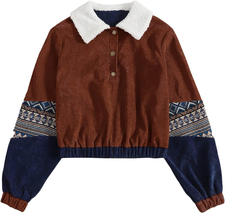 WDIRARA Women's Button Front Collar Geometric Print Long Sleeve Corduroy Sweatshirt