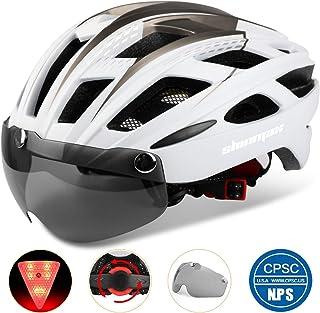 Shinmax 069式自転車ヘルメット, LEDライト付きサイクルヘルメット 安全ライト付き自転車ヘルメット ゴーグル超軽量高剛性自転車ヘルメット ロードバイクヘルメット アダルト自転車ヘルメット 取り外し可能なシールドサンバイザー付き 57...