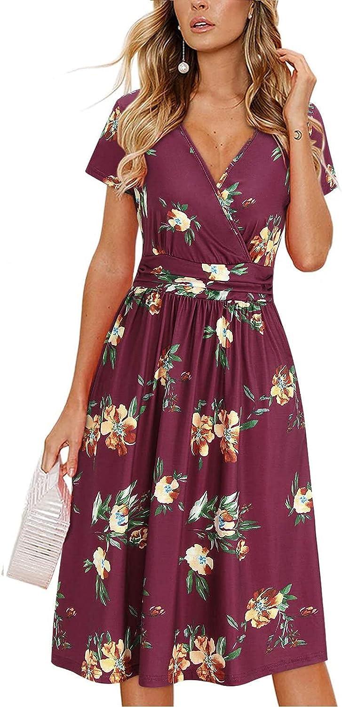 JPLZi Summer Dresses for Women Beach, Women's V Neck Short Sleeve Casual Swing Flowy Midi Sundress for Party