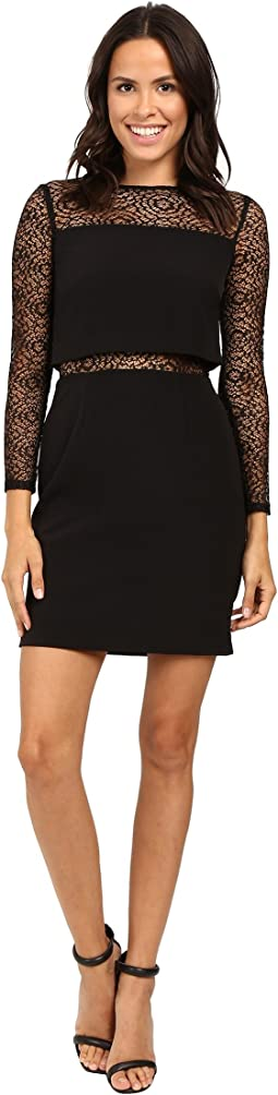 Long Sleeve Crepe Dress w/ Pop Over Top and Stretch Lace Detail