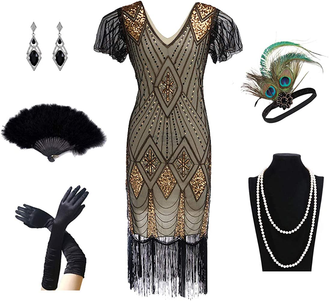 1920s Women's Gatsby San Francisco Mall Costume Super intense SALE Flapper Dresses Dres Neck V Fringed