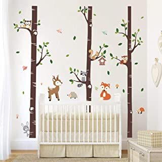 decalmile Large Birch Tree and Forest Animal Wall Decals Owl Squirrel Deer Wall Stickers Baby Nursery Kids Bedroom Living ...
