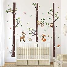 decalmile Muurstickers Groot Berk Boom met Dieren Muurtattoo Uil Eekhoorn Herten Wanddecoratie Baby Kinderkamer Slaapkamer...