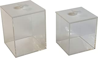 Idea Design Studio Clear Acrylic Cube Storage Container Box with Lid – Bathroom, Kitchen, Bedroom Counter Canister and Shelf Organizer Beauty Makeup Holder – Set of 2 Boxes (Lines)