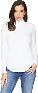 Three Dots Women's Ci2798 Luxe Rib L/S Turtleneck with Cowl Back
