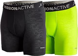 Men's VaporActive Boxer Briefs (2 Pack), Black/Hi Vis Green, Large