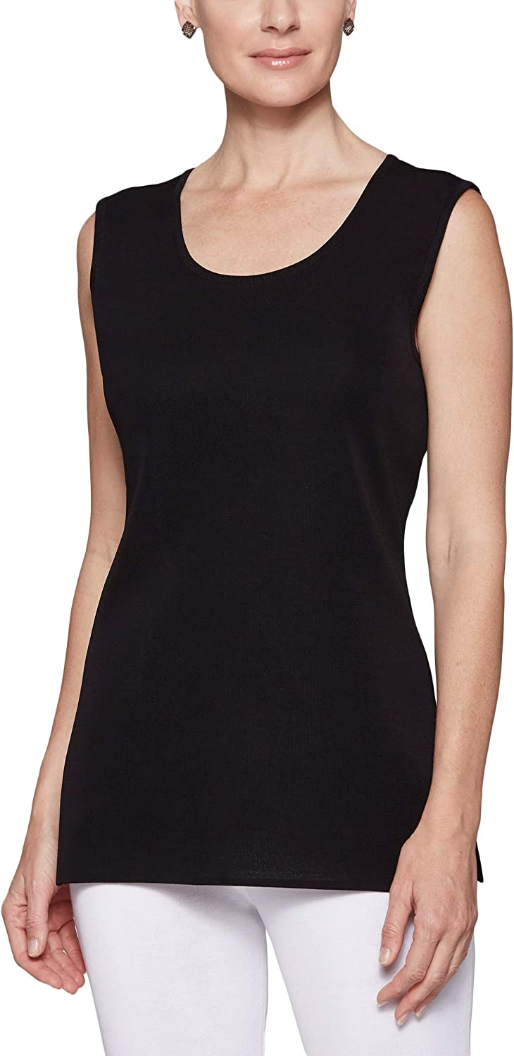 MISOOK Long Scoop Neck Tank - Pull On Closure, Scoop Neck, Wrinkle-Resistant and Machine-Washable - Black