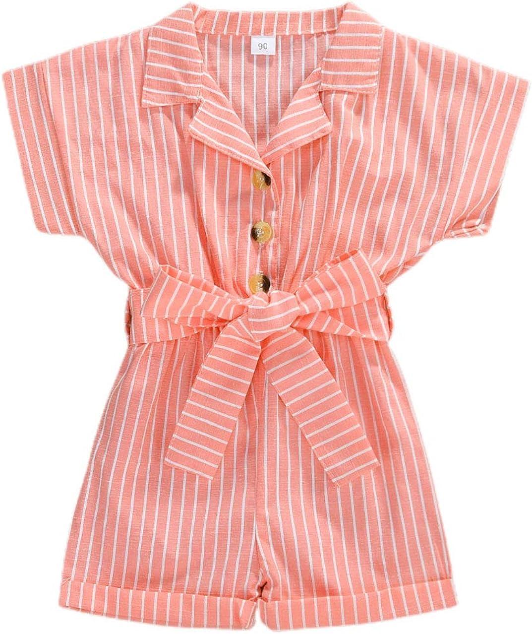JOJOJUJU Kids Little Girl Short Button Down Sleeve Jumpsu Stripe Popular brand in the Ranking TOP10 world