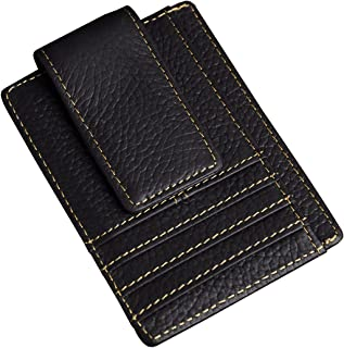 Genuine Leather Magnet Money Clip Credit Card Case Holder Slim Handy Wallet (The Black 2)