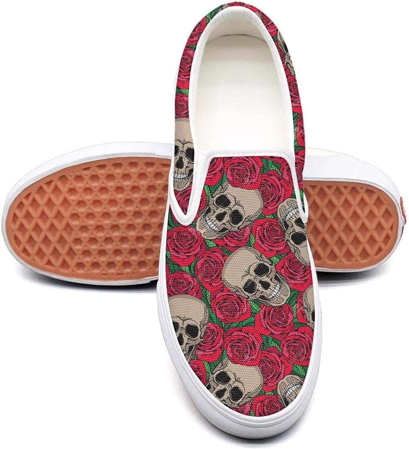 Red pink Flowers and Skull Bones Patch Slip On Canvas Upper Loafers Canvas shoes for Women Fashion