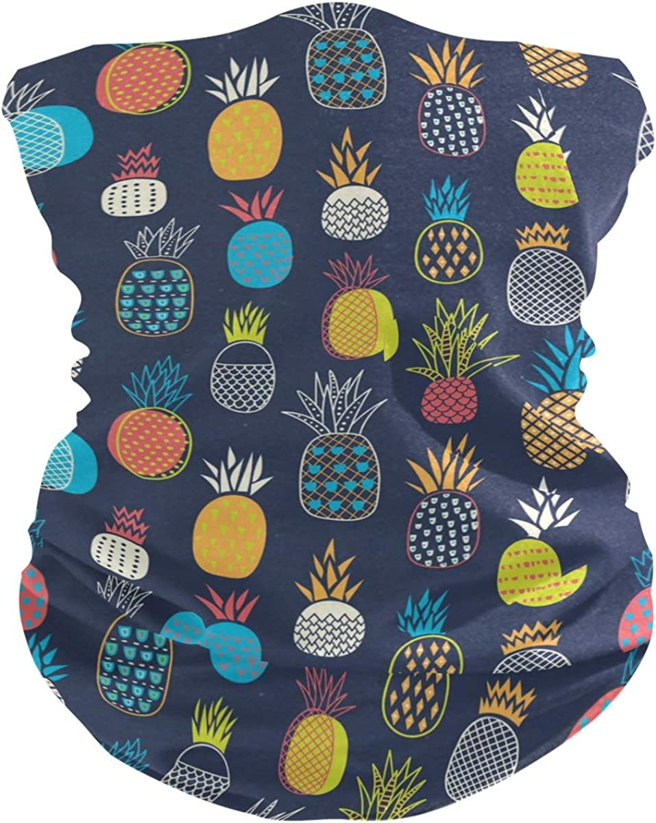 Face Mask Bandana Balaclava Neck Gaiter for Women Men, Colorful Pineapples Face Sun Dust Mask Magic Scarf Headwear for Running Fishing Outdoor