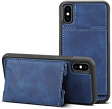 Case for iPhone Xs Max 6.5inches Apple Lightweight Cover,TACOO Soft Pu Leather Thin Simple Protective Card Slots Durable Kickstand Sturdy Women Boy Shell Blue