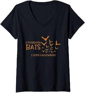 Womens Funny Quote It's Freakin' Bats I Love Halloween V-Neck T-Shirt