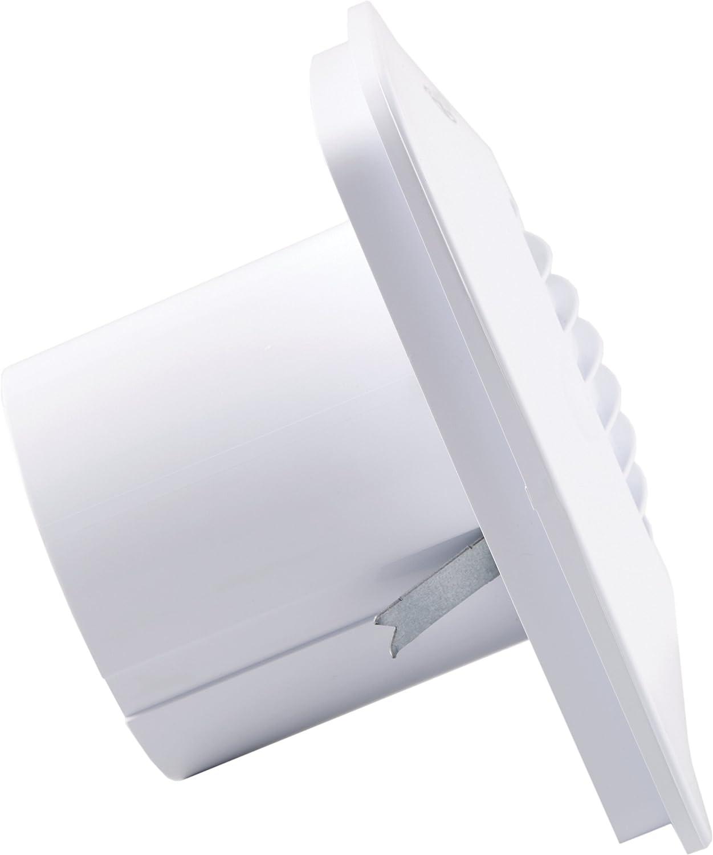 bianco Kit ventola per bagno 10 cm quadrata Xpelair DX100TS fissaggio a parete