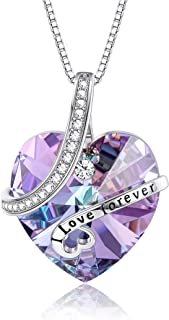 Sllaiss Love Heart Pendant Necklace Made with Swarovski Purple Crystals 925 Sterling Silver Crystal Necklace Jewelry Gifts for Her, Women, Wife, Birthday Anniversary Gift with Box