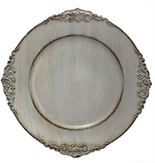 Tiger Chef 6-Piece 13-inch Royal Antique Grey Round Vintage Dinner Charger For Plates Wedding Reception Chargers Plate Chargers For Table Settings Disposable Hard Round Heavyweight Charger Plates 6