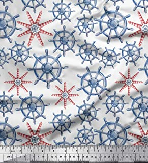 Soimoi White Crepe Silk Fabric Lighthouse & Ship Wheel Nautical Printed Craft Fabric by The Yard 42 Inch Wide