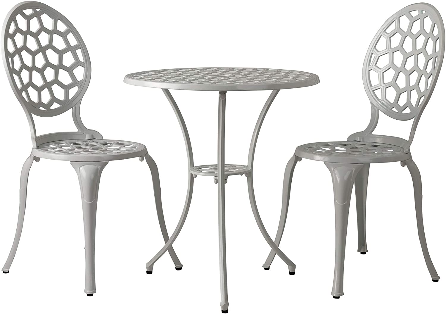 Patio Sense Vashon Bistro Set | 3 Pieces | Round Table and 2 Chairs | Cast Aluminum Construction | Gloss White Finish | Ideal for Outdoor Seating, Porch, Lawn, Garden, Backyard, Pool, Deck, Balcony : Patio, Lawn & Garden