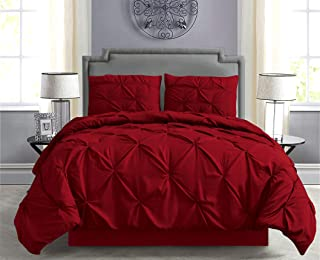 Empire Home Pintuck Hypoallergenic 8-Piece Bed in A Bag Comforter Set - Sheet Set Included!! (Burgundy, Full)