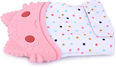 INFANTSO Baby Food-Grade Silicone Mitten Teether, Glove Toy for Pain Relief Easy Teething, BPA-Free & Non-Toxic (Pink)