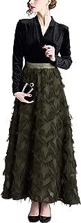 SANHION Womens 3/4 Sleeve Pleated Maxi Dress Elegant Velvet Splicing A-Line Evening Gown