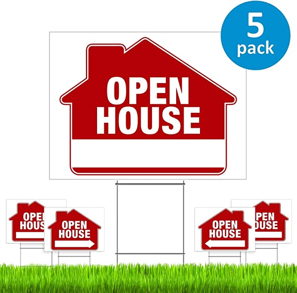 Open House Signs For Real Estate 5 Pack PRO Double Sided Realtor Signs With Yard Stakes Open House Sign Kit For Private Sellers Real Estate Agents Large 18 X 24 Size New