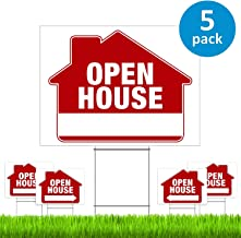Open House Signs for Real Estate (5 Pack) – PRO Double-Sided Realtor Signs with Yard Stakes – Open House Sign Kit for Private Sellers & Real Estate Agents (Large 18