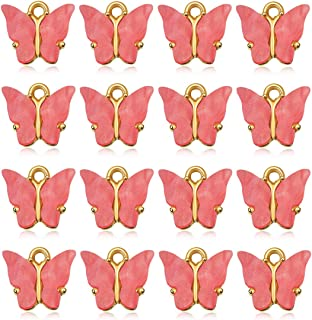 16 Pcs Butterfly Charms Acrylic Butterfly Pendant for Necklace Bracelet Earrings DIY Jewelry Making (Rose Red)