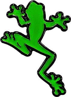 Climbing Frog Amphibian Biology Green and Black - Lapel or Fabric Pin