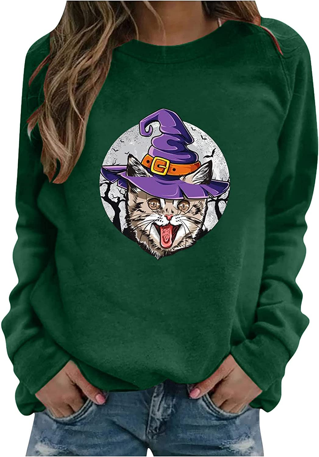 Year-end gift Recommended Halloween Lightweight Sweatshirt for Long- Print Women