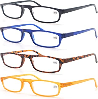 Un Pack de Cuatro Gafas de Lectura 2.75 para Hombres/Mujeres - Lente Clara,Vision Clara - Moda,Practicas,Ligeras,Comodas,Colores Negro-Azul-Marron-Amarillo