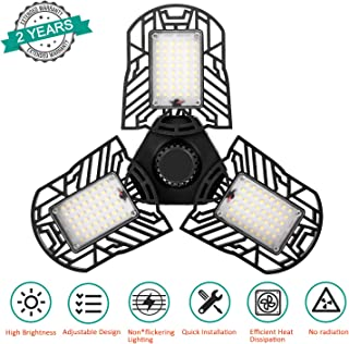 ACVCY Led Garage Light, 60W Deformable LED Garage Lighting 6000LM E26 Overhead Garage Light with 3 Adjustable Panels for Garage Warehouse,Workshop,Basement (No Tools Required)