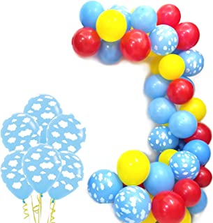 Cloud Party Balloons Pack of 100 - Clouds with Yellow Red Blue Latex Balloons, For Boy Girl Birthday Baby Shower Party Supplies