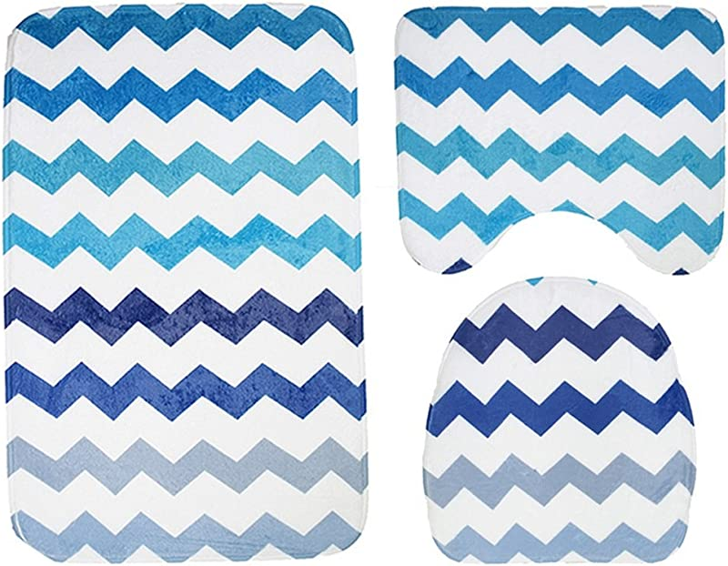 QIAO 3pcs Bathroom Carpet Set Bathroom Non Slip Cover Bath Mat Contour Cover Toilet Lid Carpet Toilet Striped Pattern
