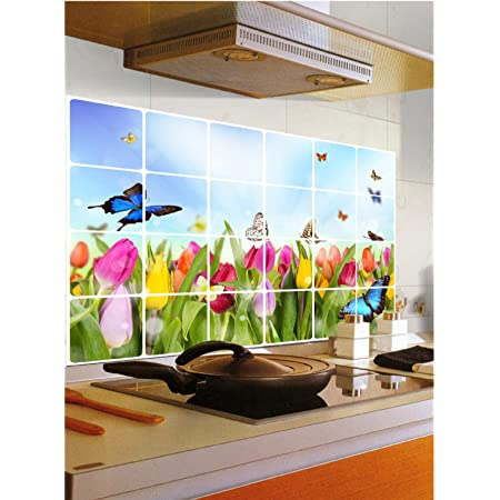 Jaamso Royals Removable Kitchen Oil Proof Decal Sticker Heat-Resistant Waterproof Tile Sticker Aluminium Foil Wall Sticker ( Tulip Flowers and Butterflies) (60 cm * 90 cm)