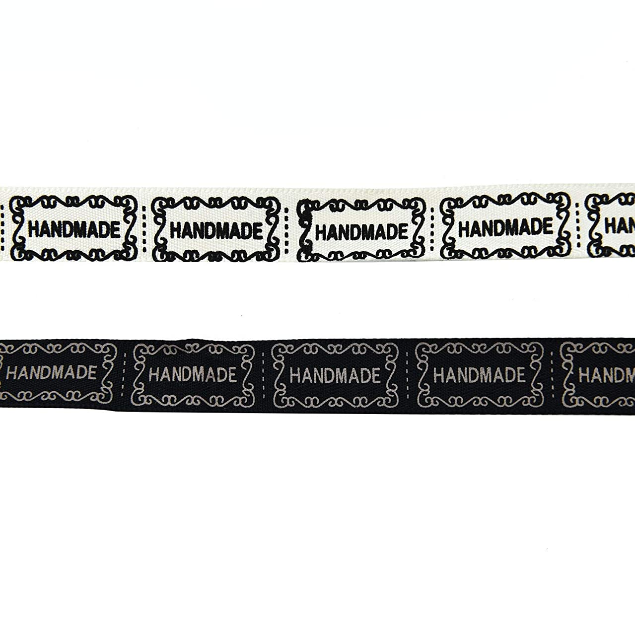 Monrocco 2Roll 20 Yards Hand Made Labels Fabric Ribbon for Sewing,DIY Crafts Accessories - Black,Beige
