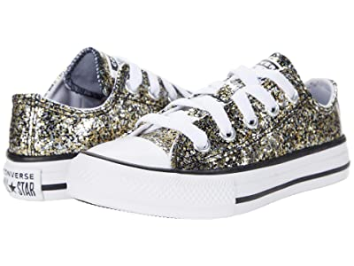 Converse Kids Chuck Taylor(r) All Star(r) Ox Coated Glitter (Little Kid/Big Kid) (Black) Girl