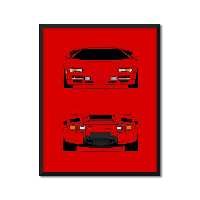 CUSTOMIZABLE COLOR: Lamborghini Countach Rear and Front Las Vegas Max 82% OFF Mall Inspir