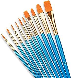 SHW Art Essentials 10 Pcs Professional Paint Brush Set,10 Sizes Nylon Hair Artist Painting Brush Kit for Acrylic, Oil, Wat...