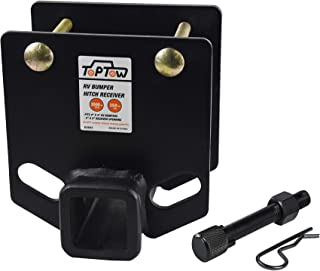 TOPTOW 63803AT RV Bumper Hitch Receiver 2 inch Adapter Receiver Openning 3500 LBS Capacity Fits for 4 inch X 4 inch Square RV Rear Bumpers