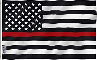 Best Anley Fly Breeze 3x5 Foot Thin Red Line USA Polyester Flag - Vivid Color and Fade Proof - Canvas Header and Double Stitched - American Honoring Firefighter Flags with Brass Grommets 3 X 5 Ft Reviews