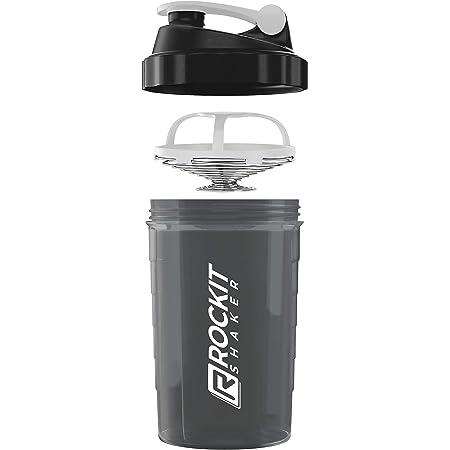 Rockitz Premium Shaker Proteines 500ml - fonction de mélange premium avec filtre à infusion - pour des shakes protéinés fitness super crémeux, tasse à shake protéiné - Blanc | Noir