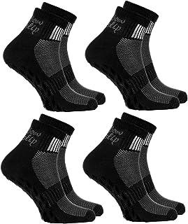 Rainbow Socks - Women Men Black Cotton Non Slip Grip ABS Sport Socks