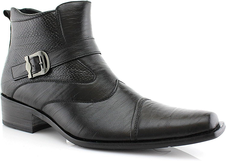 Delli Aldo Gustavo M606001PL Men's Buckle Strap Ankle High Dress Boots shoes, Black, 7