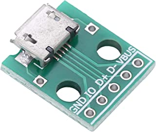 10Pcs 5 Pin 2.54mm Pitch Micro USB Female Socket to DIP...