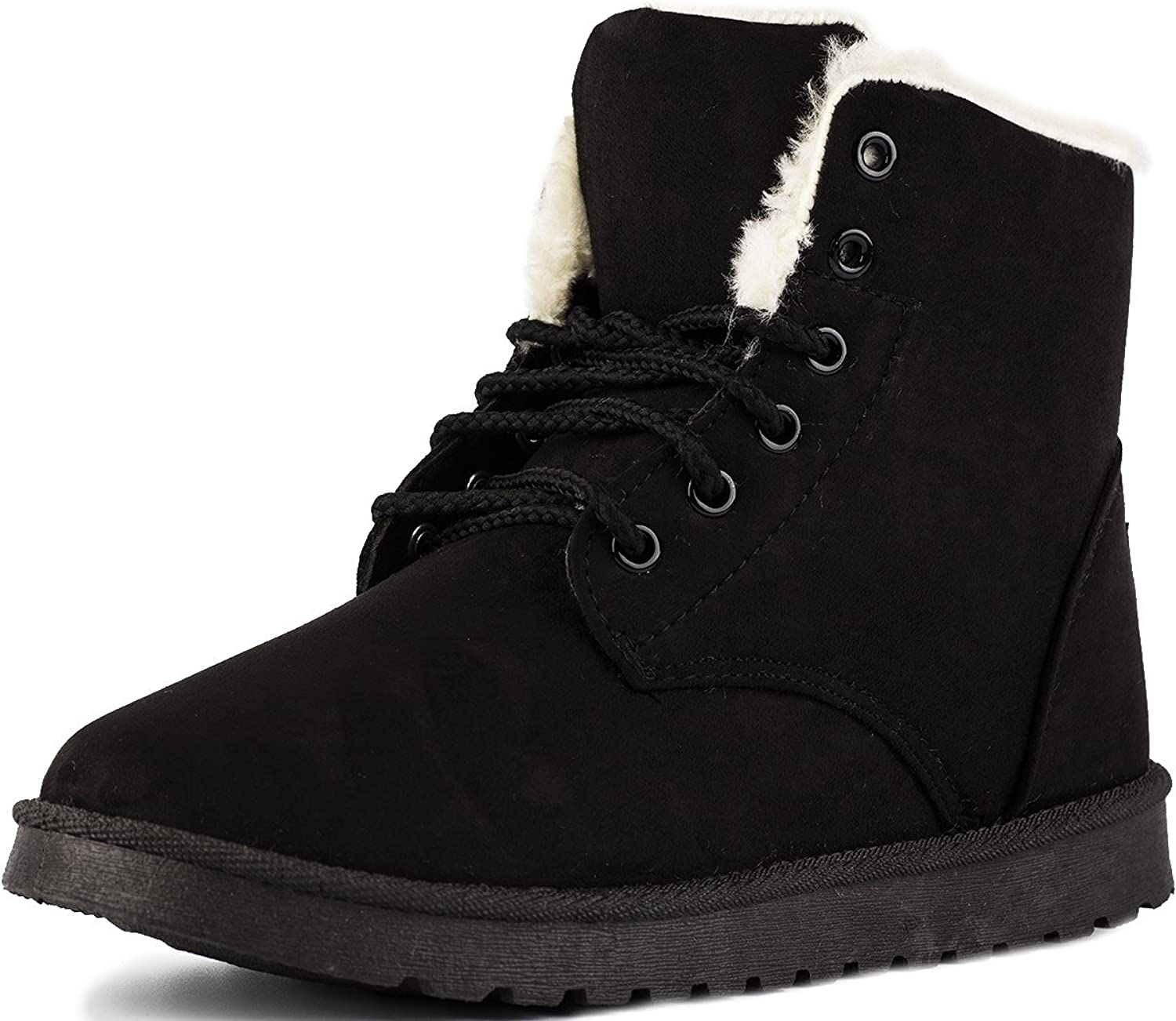Keluomanduo Women's Winter Snow Boots Fur Liners Lace Up Short Basic Ankle Booties